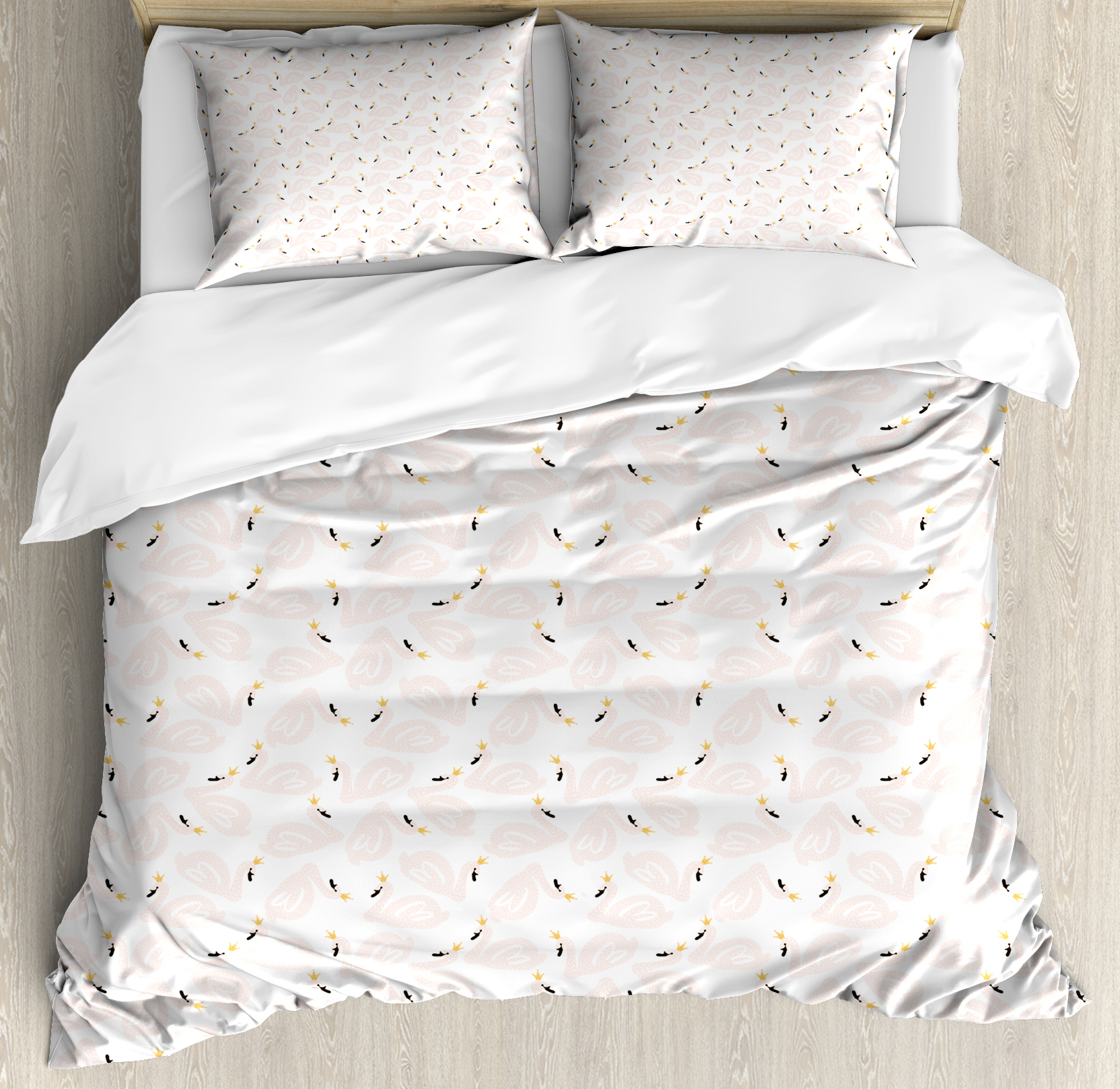 Swan Duvet Cover Set, Childish Doodle Style Pastel Color Swan Princesses Girly Style Kids Nursery, Decorative Bedding Set with Pillow Shams, Peach Marigold Black, by Ambesonne