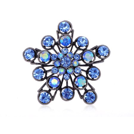 Sapphire Crystal Rhinestone 2 Layer Filigree Flower Starburst Fashion Pin Brooch Diamond Ruby Sapphire Brooch