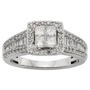 Sofia  10k White Gold 1ct TDW Diamond Engagement Ring