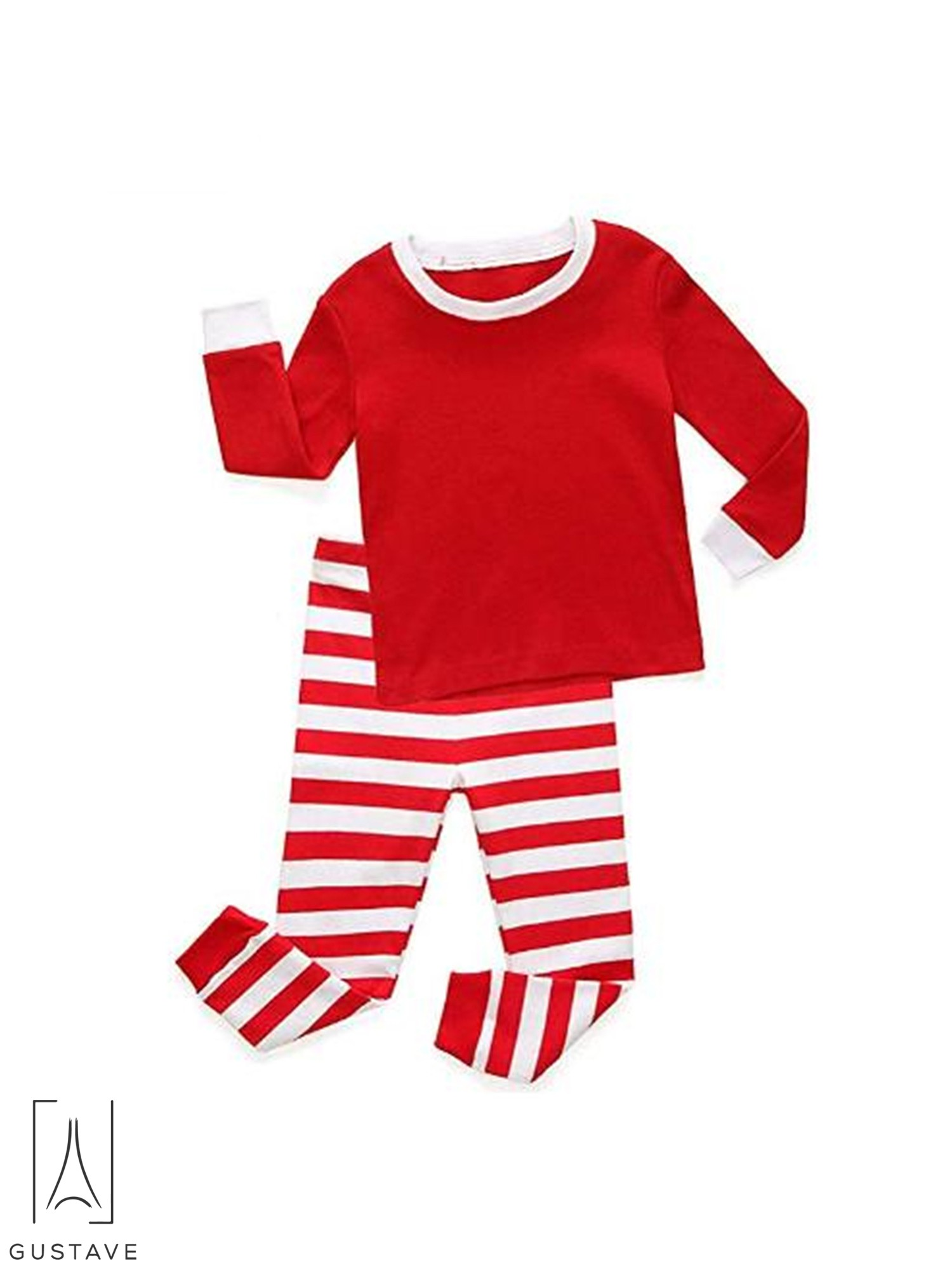 9b307c90bb GustaveDesign Matching Family Christmas Pajamas Set Cotton Tops Striped  Trousers Sleepwear for Dad Mom Kids - Walmart.com