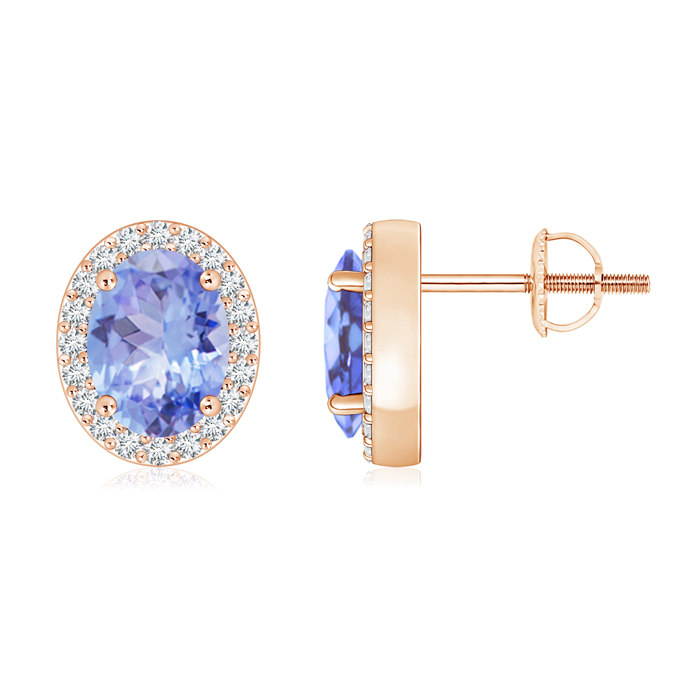 Angara Natural Tanzanite and Diamond Halo Stud Earrings in White Gold 6ON06Q