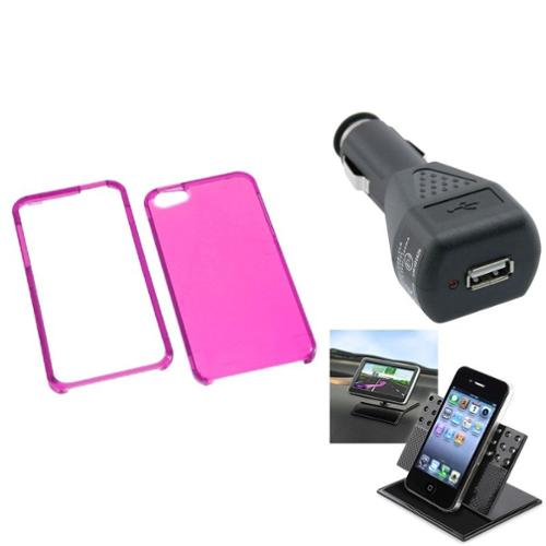 Insten Car Charger+Holder+For iPhone 5 / 5s Case Transparent Crystal Clear Shell T-Hot PInk