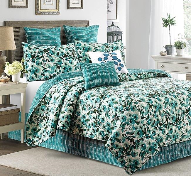 Reversible Blue / Green Peony Stripes Quilt Set - King Size