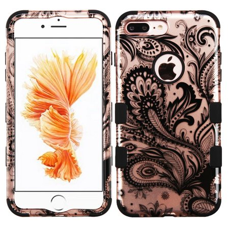 Insten Tuff Phoenix Flower Hard Dual Layer Rubber Coated Silicone Cover Case for Apple iPhone 7 Plus - Rose Gold/Black