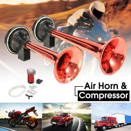 12V Dual Air Horn Kit Trumpet Compressor Kit Train Car Truck Boat RV Boat 150dB