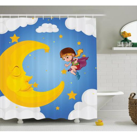 Explore Shower Curtain, Cartoon Girl in a Cape Near the Sleeping Crescent Moon Superhero Theme Night Sky, Fabric Bathroom Set with Hooks, 69W X 75L Inches Long, Multicolor, by - Girl In The Shower