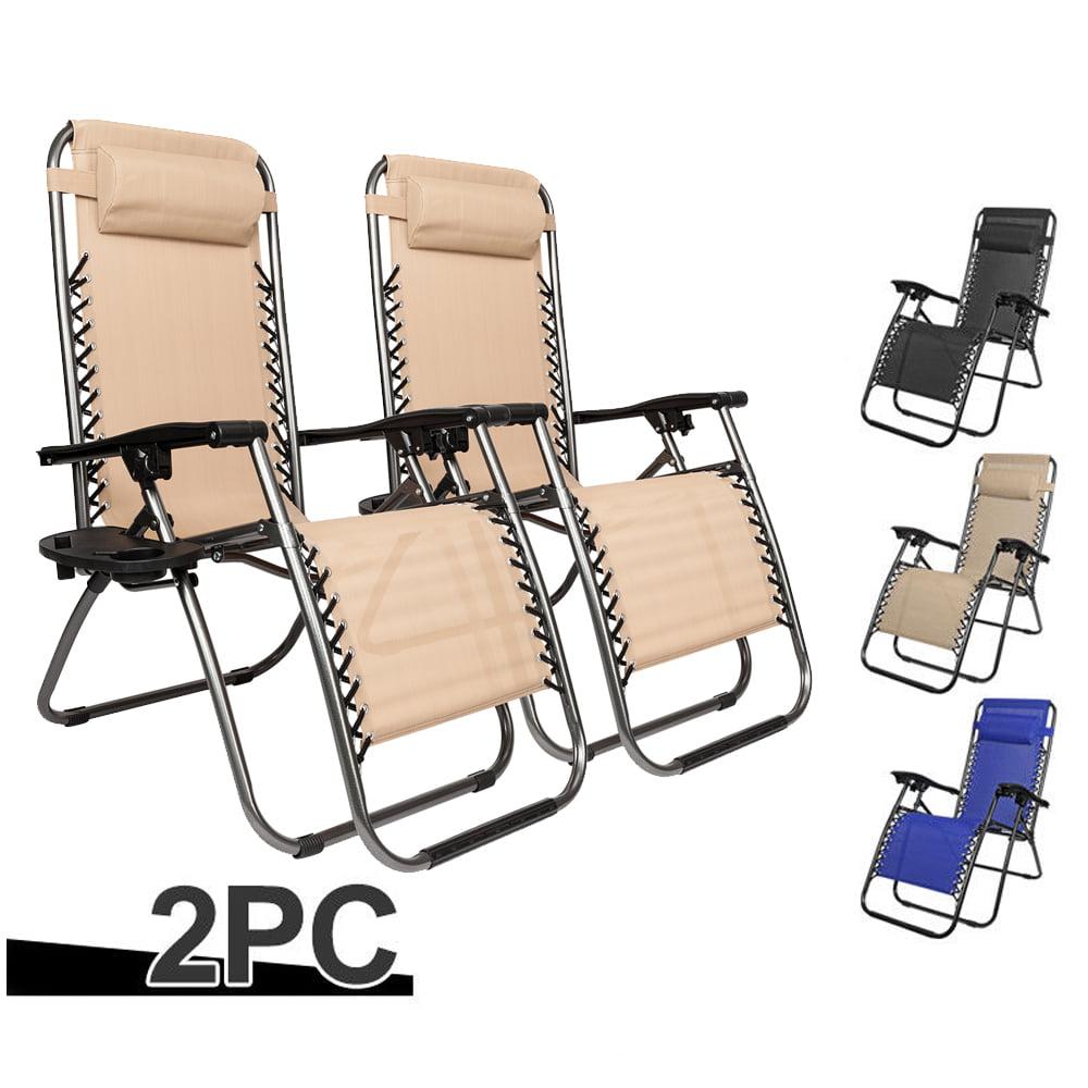 Ktaxon 2 Outdoor Zero Gravity Lounge Chair Beach Patio Pool Yard Folding Recliner Blue