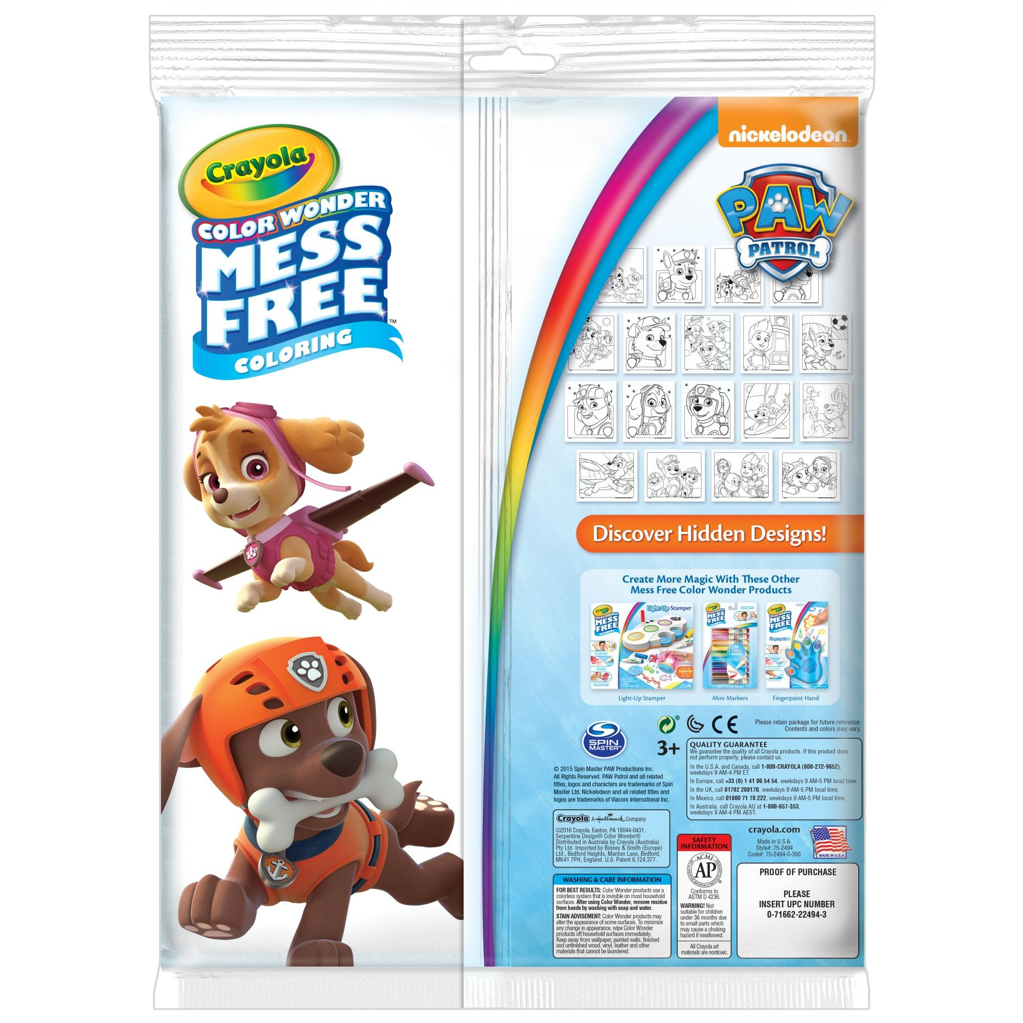 Crayola Color Wonder Set With Markers Featuring Paw Patrol 18 Pages