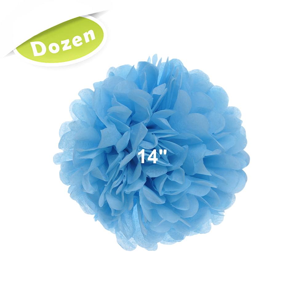 """(Price/12 Pcs)Aspire 12 Pcs 14"""" Tissue Pom Poms, 15 Colors Tissue Paper Flower, Party Favors-Ivory"""