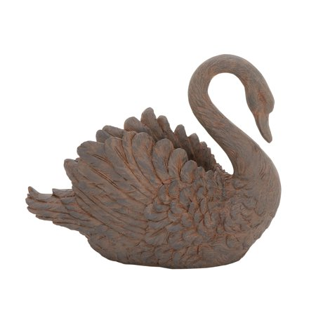 Decmode 15 X 18 Inch Traditional Distressed Natural Brown Swan Vase