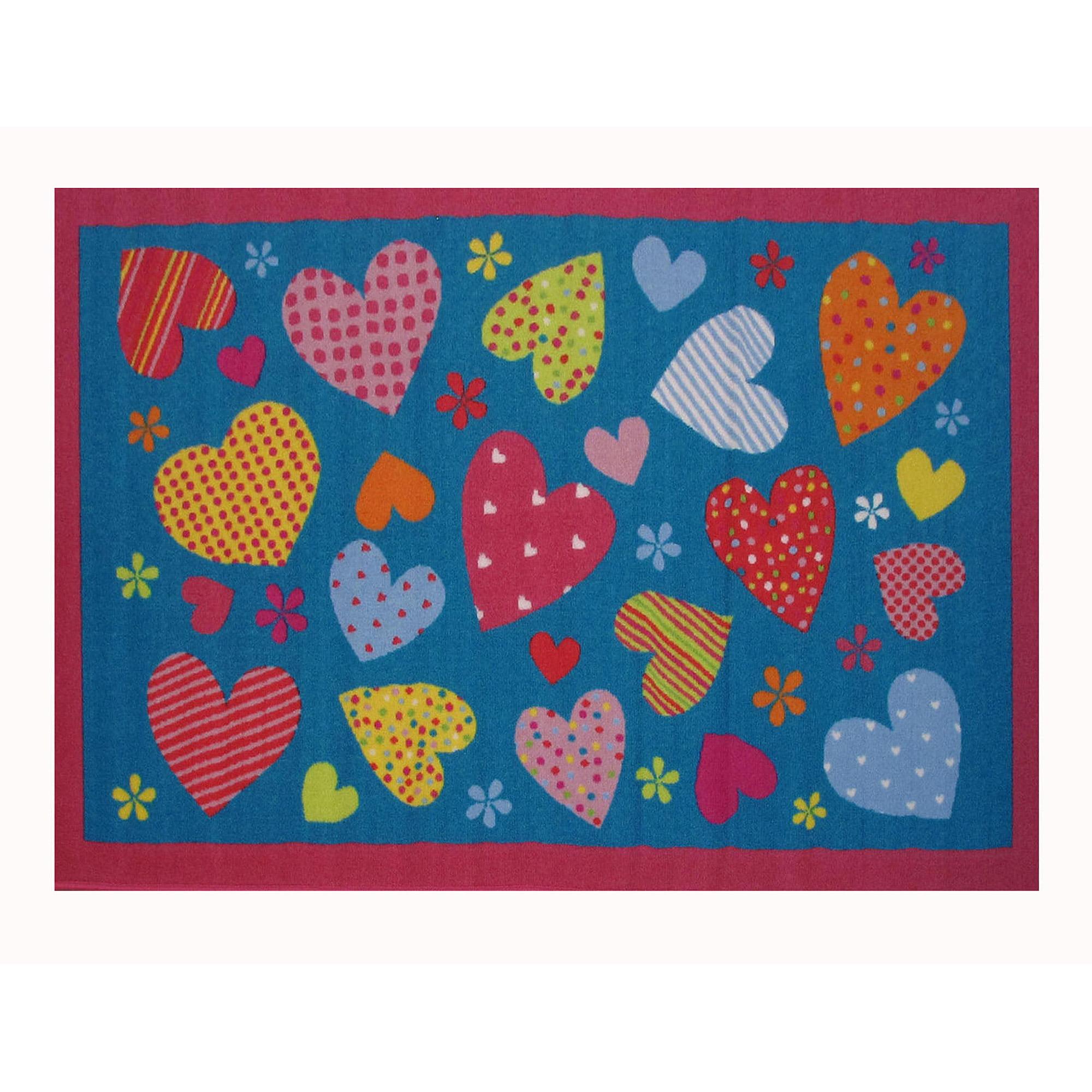 """Fun Rugs Hearts-Turquoise 19"""" x 29"""" Rug"""