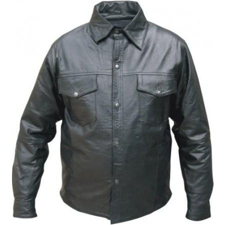Men's XL Size Western style snaps light Weight soft premium Buffalo Leather shirt