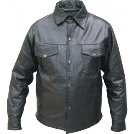 Men's 3XL Size Western style snaps light Weight soft premium Buffalo Leather shirt