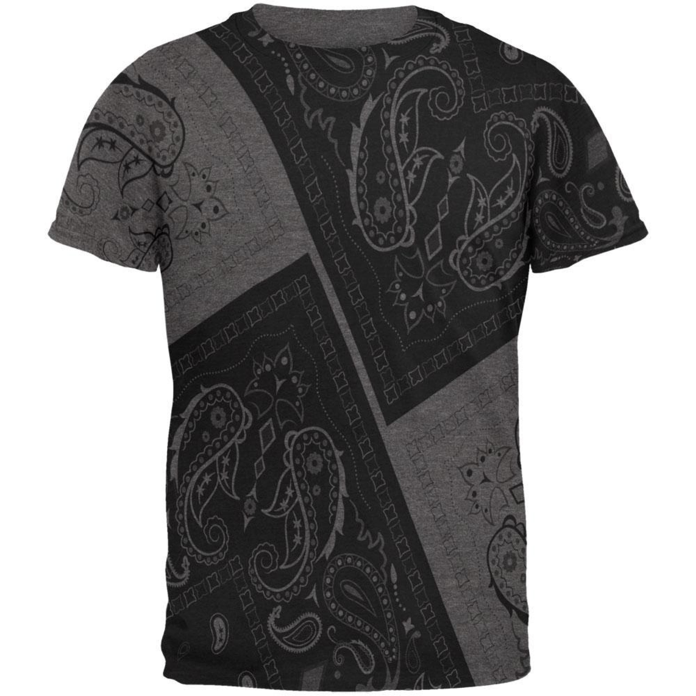 Bandana Paisley All Over Dark Heather Adult T-Shirt