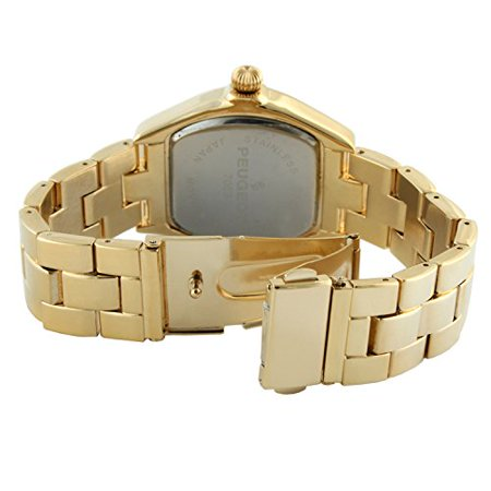 Peugeot Women's 14K Gold Plated Tank Roman Numeral Dress Bracelet Watch 7069G