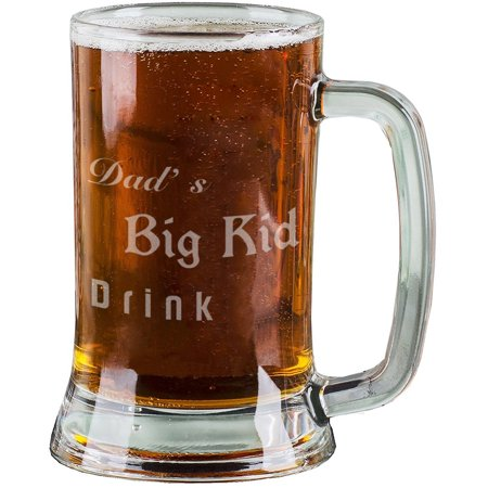 16 Oz Personalised Pint Beer Glasses Etched Mug Engraved with Dad