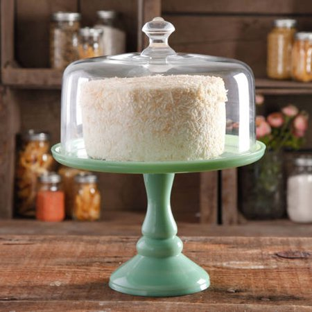 The Pioneer Woman Timeless Beauty 10-Inch Mint Green Cake Stand with Glass Cover ()