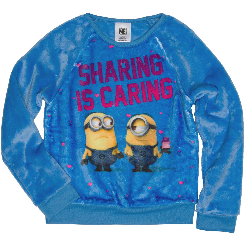 Minions Girls' Sharing is Caring Long Sleeve Crew Neck Sweatshirt