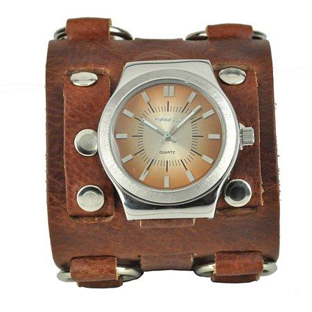 Men's Wide Sunrise Leather Cuff Watch ()