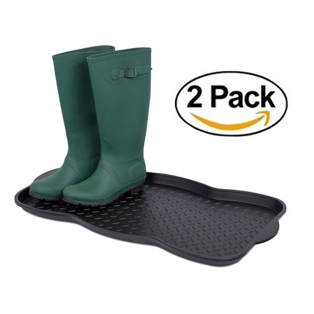 Internet's Best Multi-Purpose Boot & Shoe Tray | 2 QTY | 29.75 x 15 Round | Protects Floors from Water and Dirt | Waterproof for All Weather Indoor or Outdoor Use |.., By Internets
