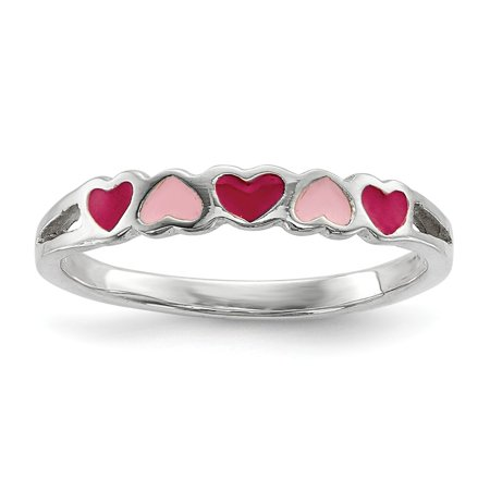 Sterling Silver for boys or girls Enameled Hearts Ring - Ring Size: 3 to 4](Little Girls Rings)