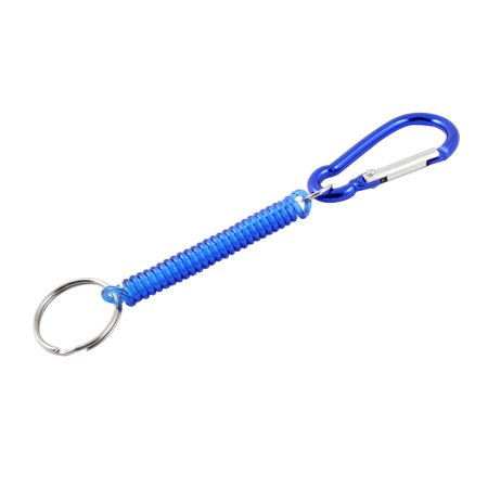 (Carabiner Hook Blue Spring Elastic Plastic Coil Keyring Keychain Strap Rope 5.1)