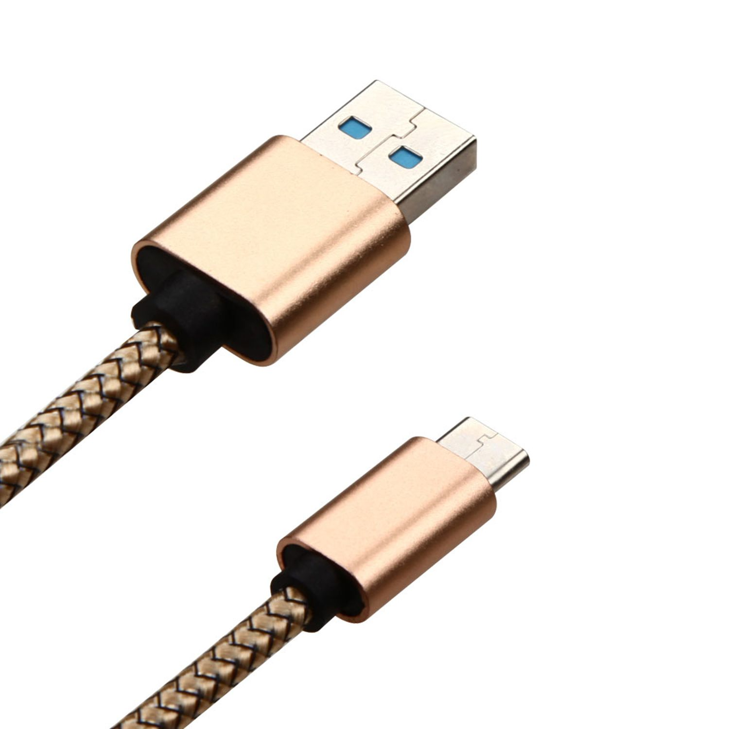 Insten 3.3ft USB Type-C Braided Leather Charging Data Sync Cable Type C Cord with Aluminum Alloy Connector Encapsulation