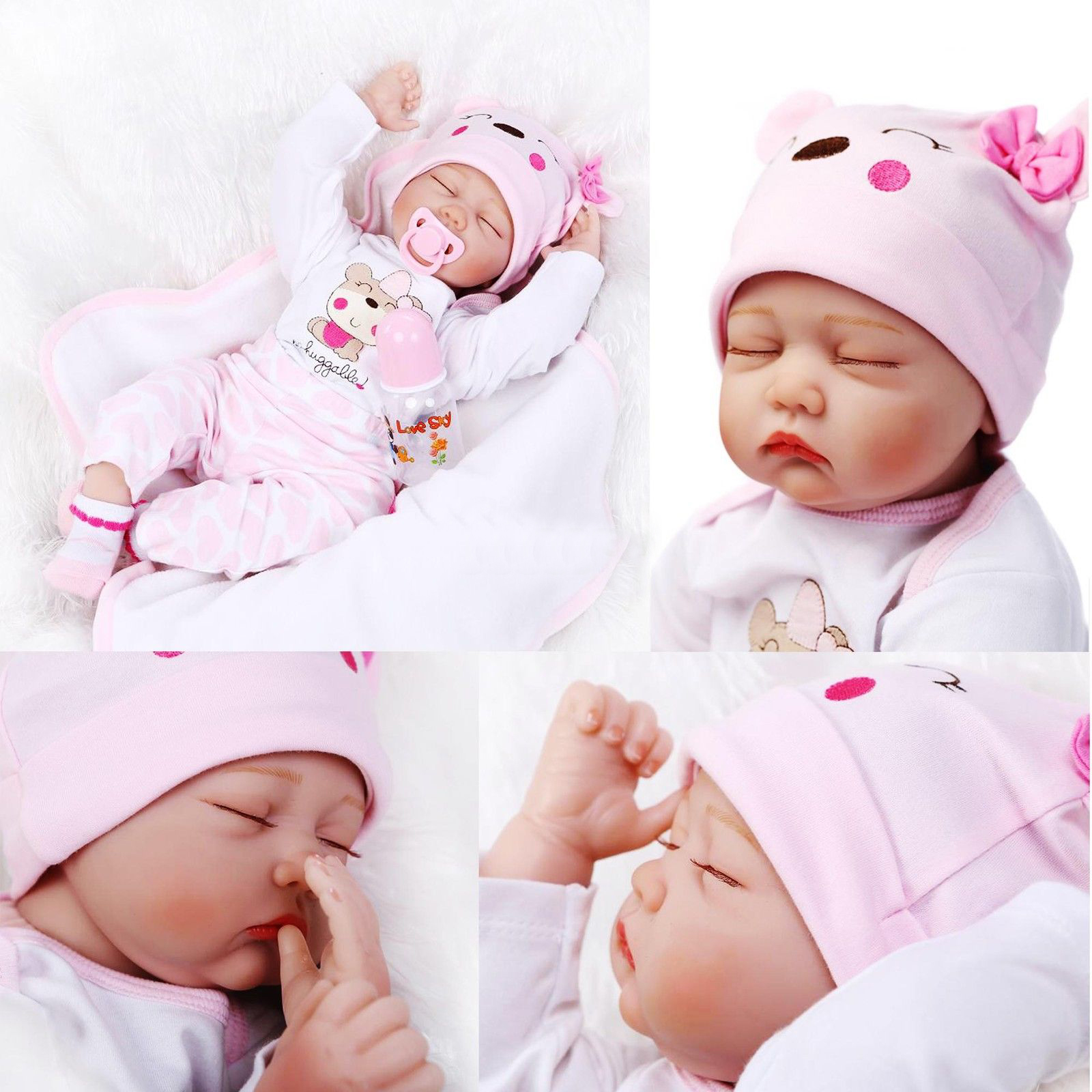 Ktaxon Reborn Baby Doll Soft Silicone vinyl 22inch 55cm Lovely Lifelike Cute Baby Boy Girl Toy Pink sleeping baby doll cute girl