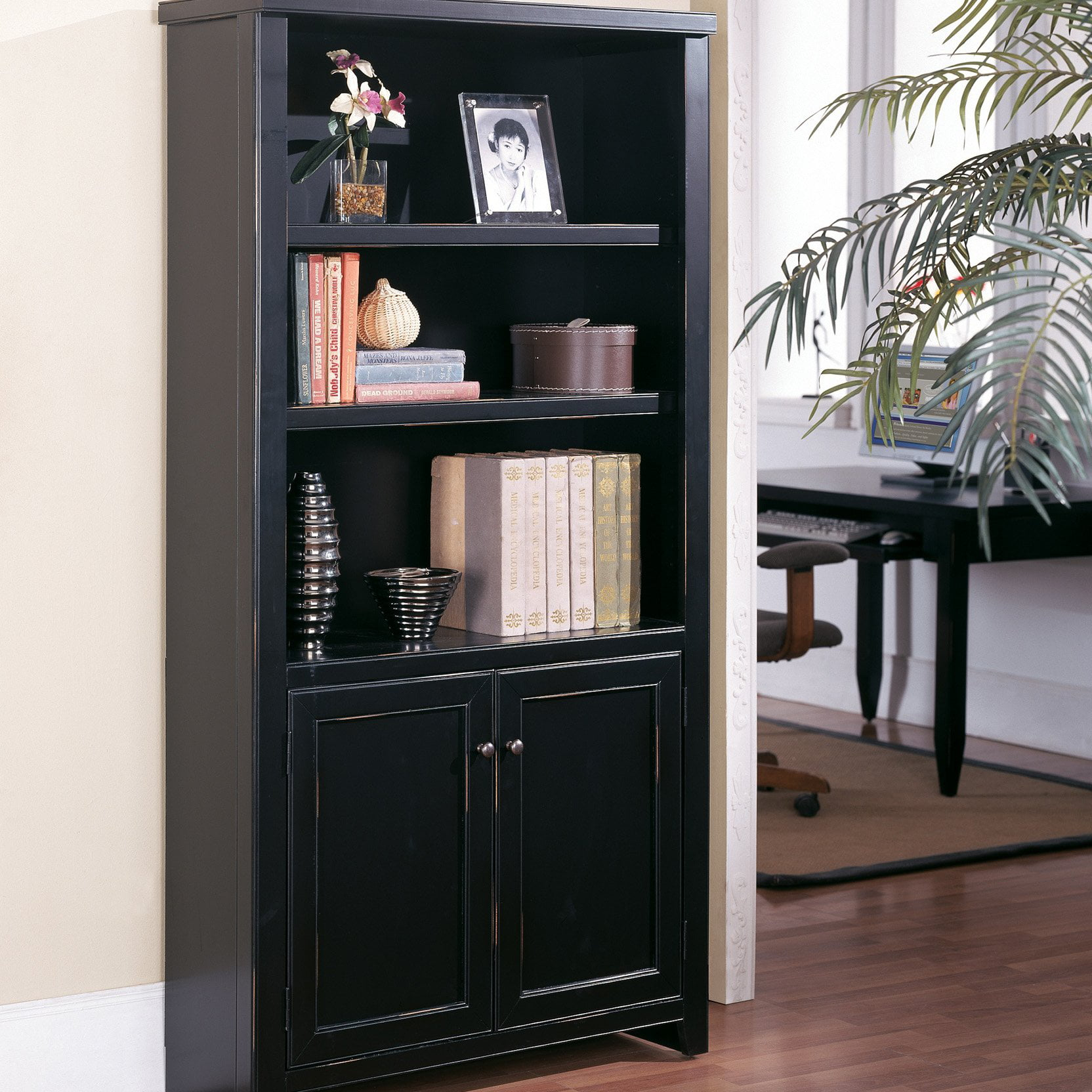 Kathy Ireland Home By Martin Tribeca Loft Bookcase With Doors Black