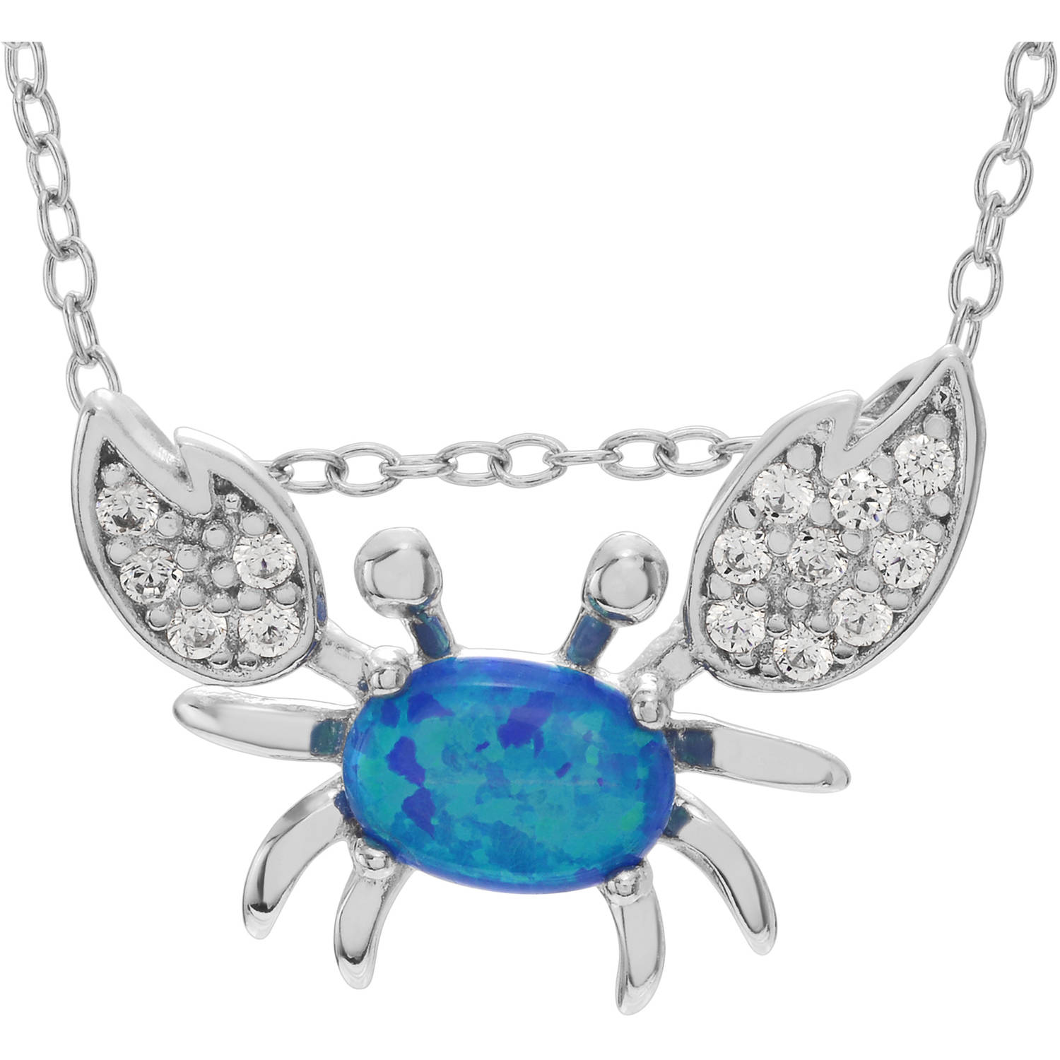 Brinley Co. Women's Blue Opal and CZ Accent Sterling Silver Crab Pendant Fashion Necklace