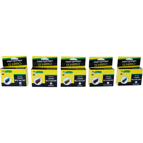 For Dummies - Canon BCI-3e and BCI-6 Color Combo Inkjet Cartridge (4705A018AA) C,M,Y,PC,PM- 5 pack (Remanufactured)