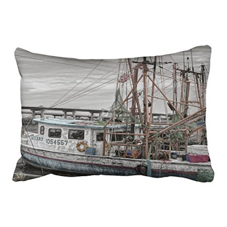 WinHome Rectangl Throw Pillow Covers Vintage Gray Beige Fishing Boat Ocean Marina Grey Pillowcases Polyester 20 x 30 Inch With Hidden Zipper Home Sofa Cushion Decorative (Beige Gravy Boat)