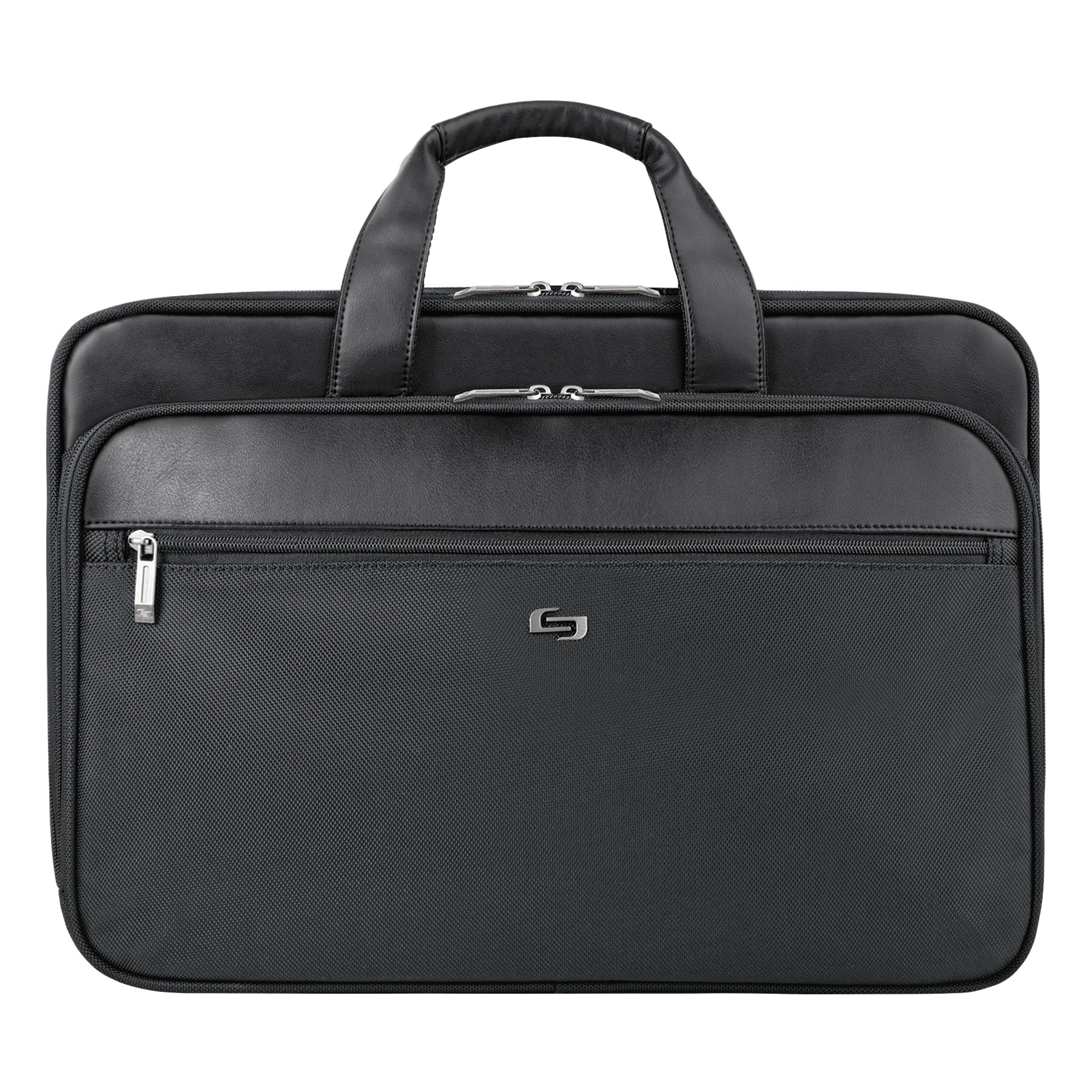 "Solo Classic Smart Strap Briefcase, 16"", 17 1/2"" x 5 1/2"" x 12"", Black"