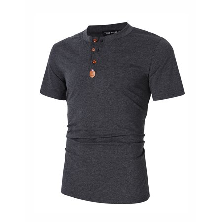 Yong Horse Men's Casual Slim Fit Crewneck Short Sleeve Henley T-Shirts - image 2 of 8