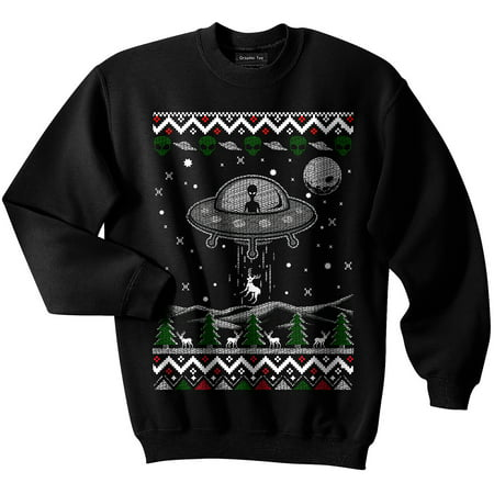 UFO Ugly Christmas Sweater, Alien, Spaceship, NASA, Holiday, GLOW IN THE DARK](The Ugly Sweater)