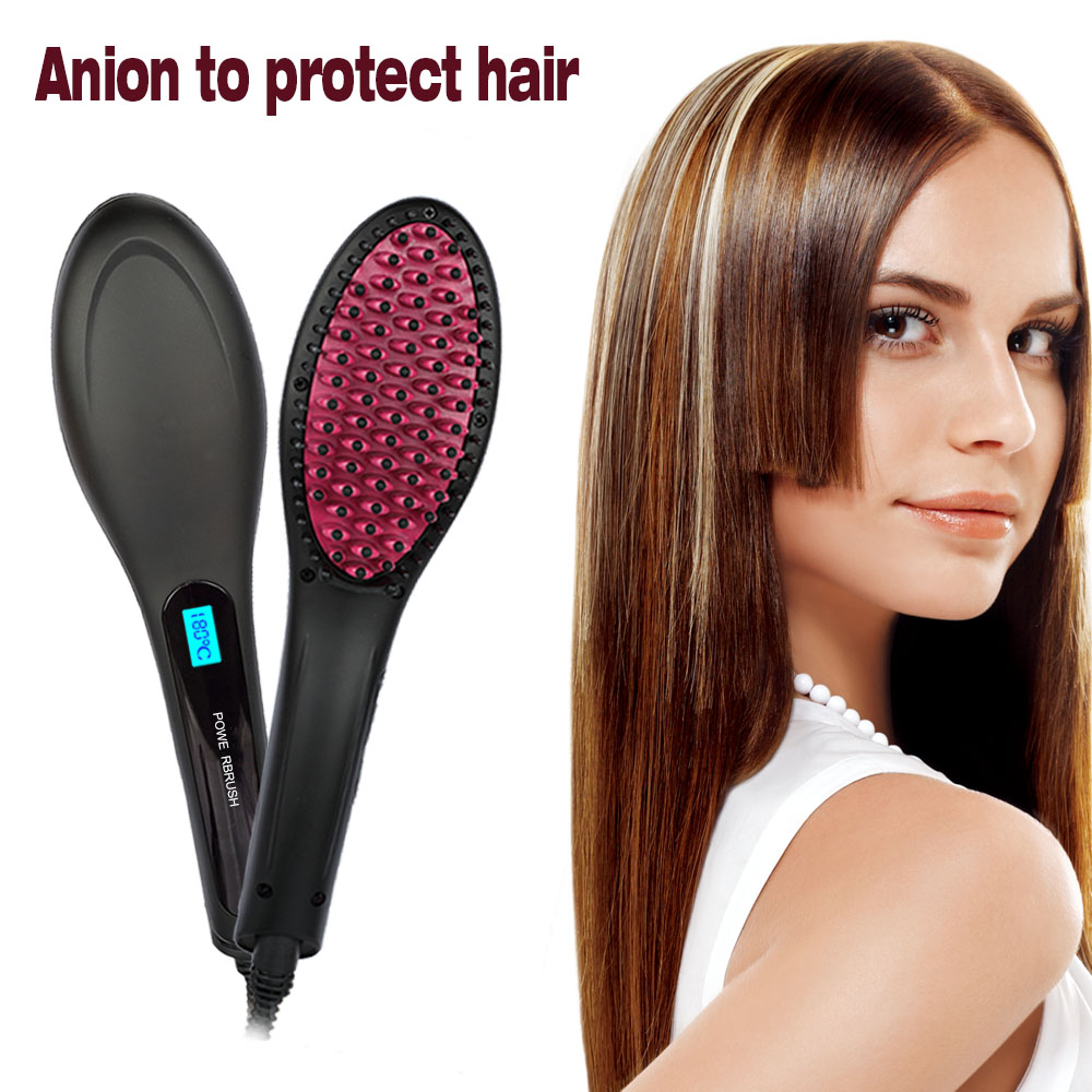 CoastaCloud Romantic Hair Straightener - Pro Detangling Anion Hair Care Brush Electric Hair Straightening Comb, Instant Magic Silky Straight Hair Styling, Anti Scald Anti Static Zero Damage -Black