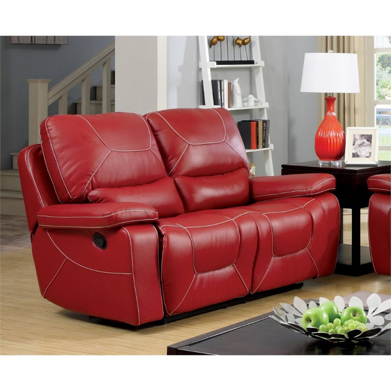 Furniture Of America Huskan, Red Leather Reclining Sofa And Loveseat