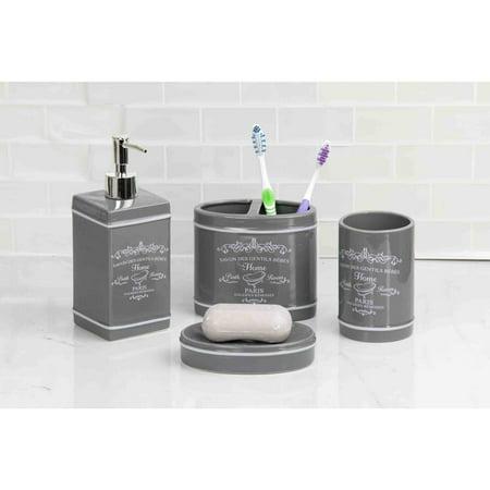 Home Basics 4 Piece Paris Collection Bathroom Accessory ...