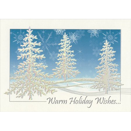 LPG Greetings Silver Prismatic Foil Embossed Evergreen Trees on Blue : Rhonda Adams Box of 14 Christmas Cards ()