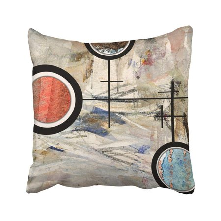 BPBOP Colorful Painting Abstract Collage Mixed Media And Watercolor On Modern Oil Modernism Pillowcase Throw Pillow Cover Case 18x18 inches