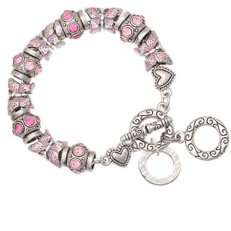 Silvertone Hammered Karma Ring Pink Butterfly Bead Charm Bracelet