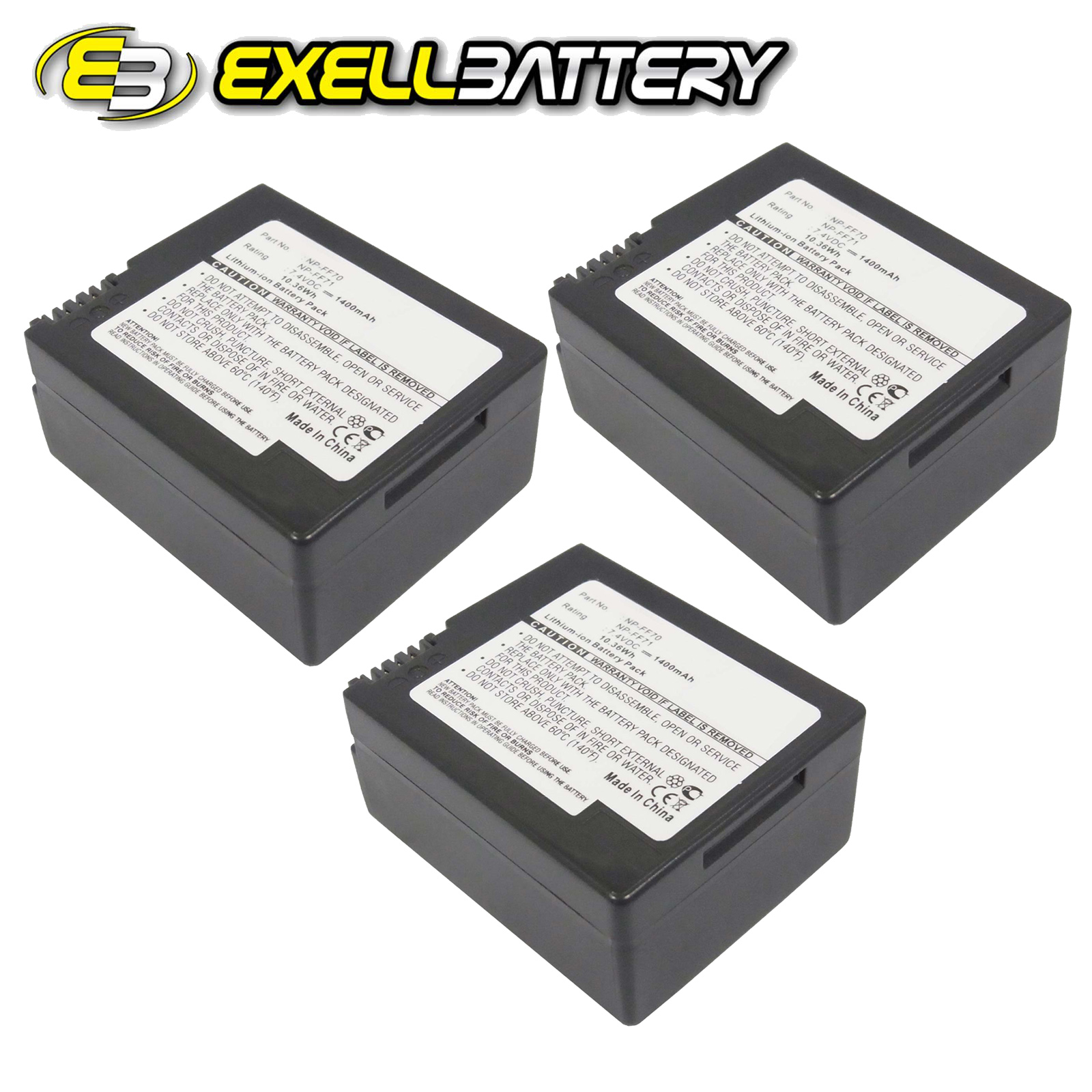 3x 7.4V 1400mAh Digital Camera Battery Fits Sony DCR-PC9,...