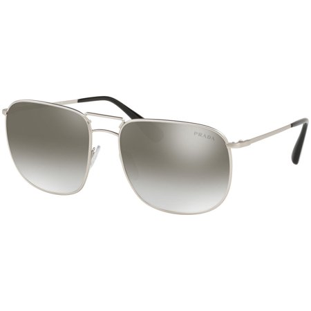 Authentic Prada Sunglasses SPR52T 1AP-4S1 Silver Frames Gray Mirror Lens -
