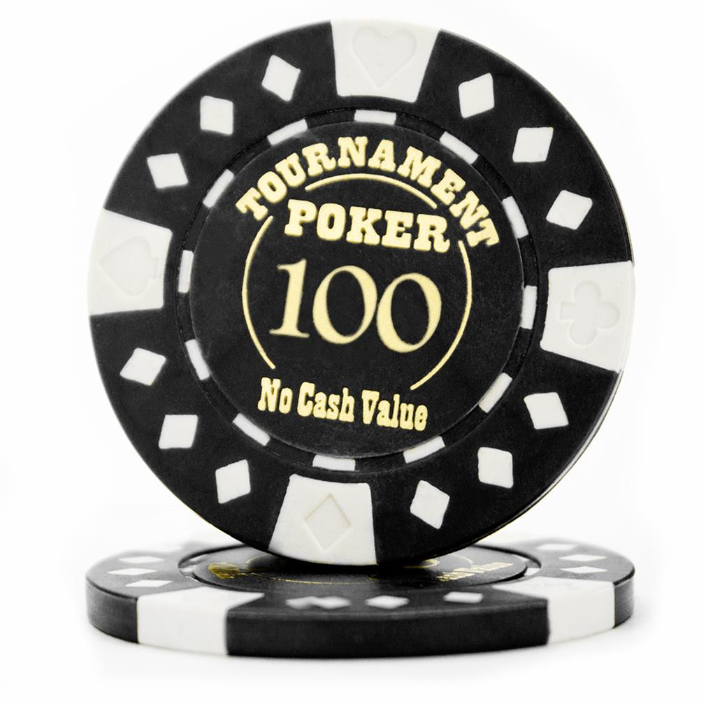 """Roll of 25 - Black - Tournament Hot Stamp Poker Chips 12.5g"""