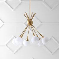 Safavieh Justine 6 Light 22 In. Dia. Adjustable Pendant, Brass Gold