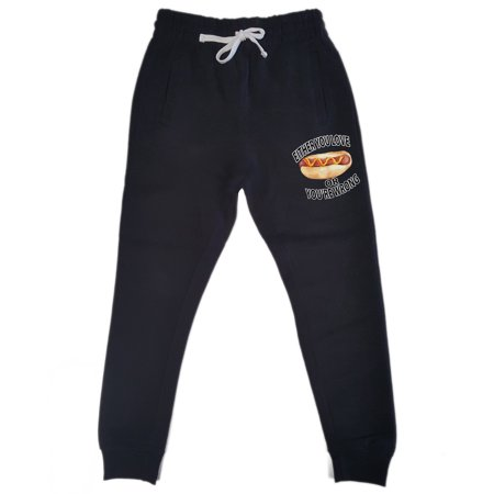 Men's Love Hot Dog Or You're Wrong KT T137 Black Fleece Gym Jogger Sweatpants X-Large Black