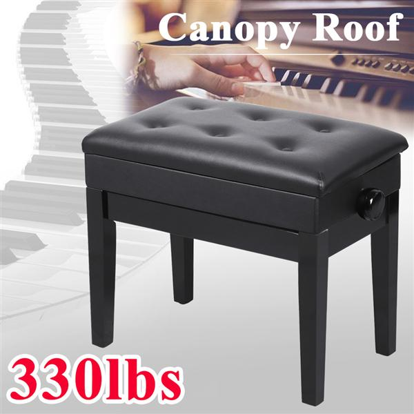Height Adjustable Piano Bench Faux Leather Padded Seat Electronic Piano Stool Keyboard Bench with Sheet Music Storage,Black