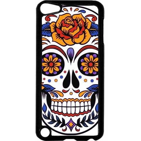 Skull Hard Plastic Case (Floral Sugar Skull   - Hard Black Plastic Case Compatible with the Apple iPod Touch 6th Generation - iTouch 6 Universal)