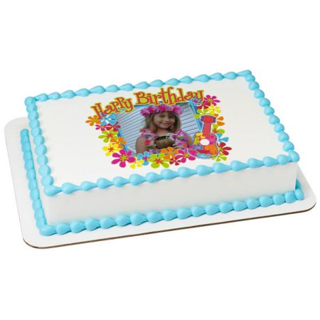 Luau Birthday Edible Cake Topper Frame Image 1 Of