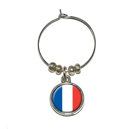 France French Flag Wine Glass Charm